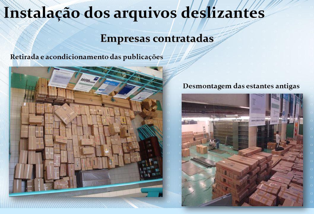 Empresas contratadas Retirada e acondicionamento das publicações Desmontagem das estantes antigas Instalação dos arquivos deslizantes