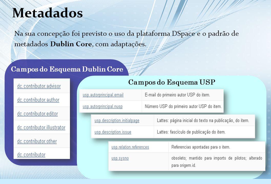 Na sua concepção foi previsto o uso da plataforma DSpace e o padrão de metadados Dublin Core, com adaptações. Campos do Esquema Dublin Core Campos do