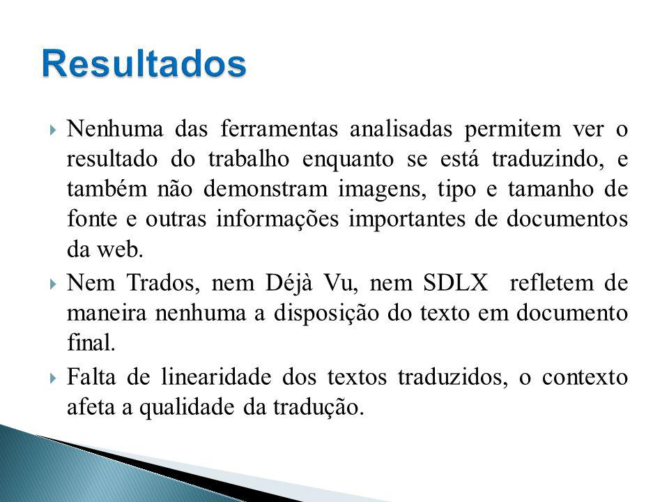 Nenhuma das ferramentas analisadas permitem ver o resultado do trabalho enquanto se está traduzindo, e também não demonstram imagens, tipo e tamanho d