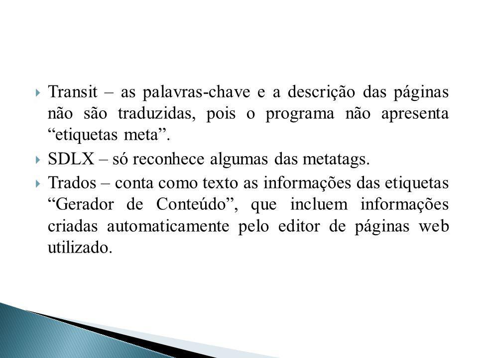 Transit – as palavras-chave e a descrição das páginas não são traduzidas, pois o programa não apresenta etiquetas meta. SDLX – só reconhece algumas da