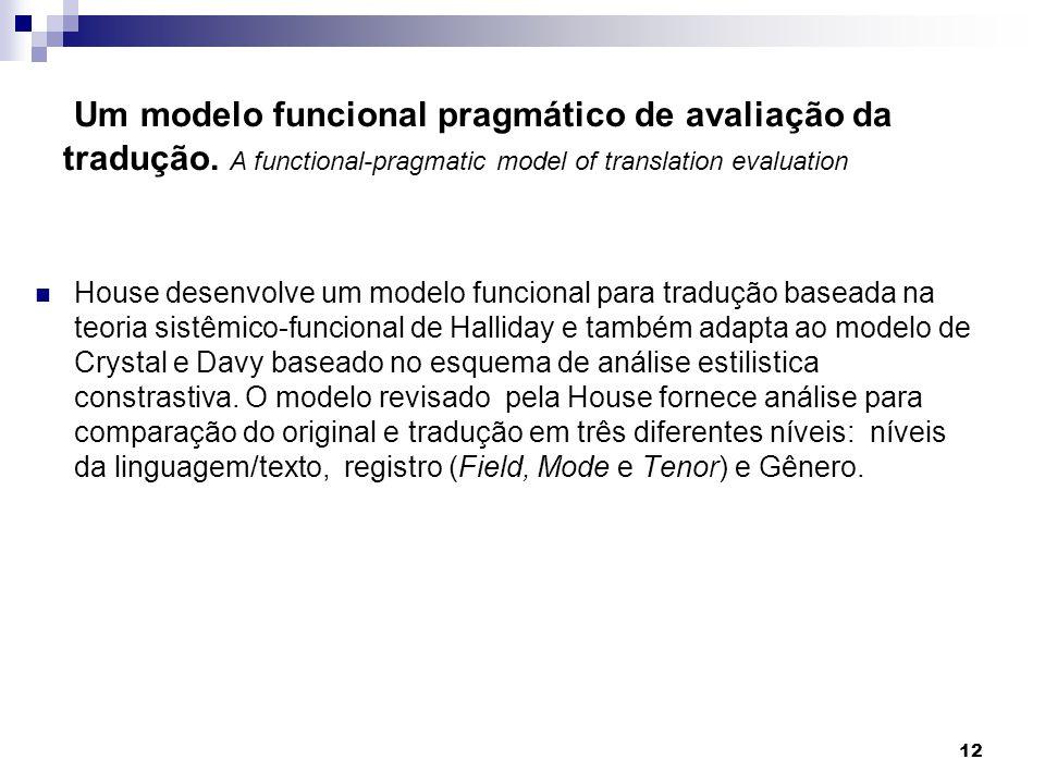 Um modelo funcional pragmático de avaliação da tradução. A functional-pragmatic model of translation evaluation House desenvolve um modelo funcional p