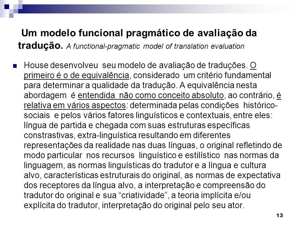 Um modelo funcional pragmático de avaliação da tradução. A functional-pragmatic model of translation evaluation House desenvolveu seu modelo de avalia