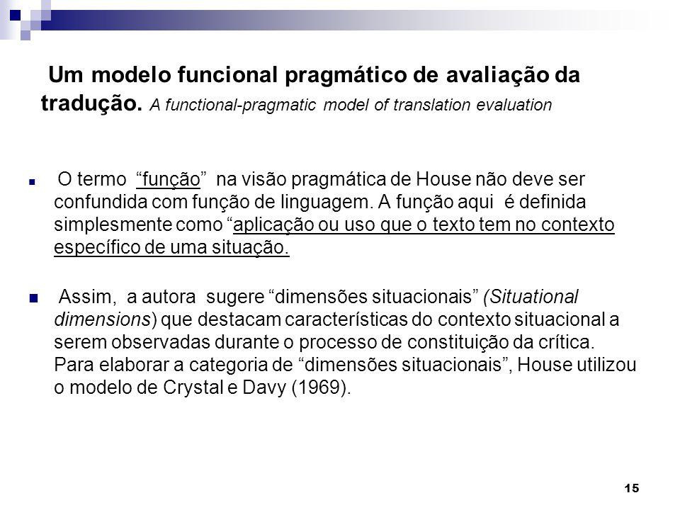 O termo função na visão pragmática de House não deve ser confundida com função de linguagem. A função aqui é definida simplesmente como aplicação ou u