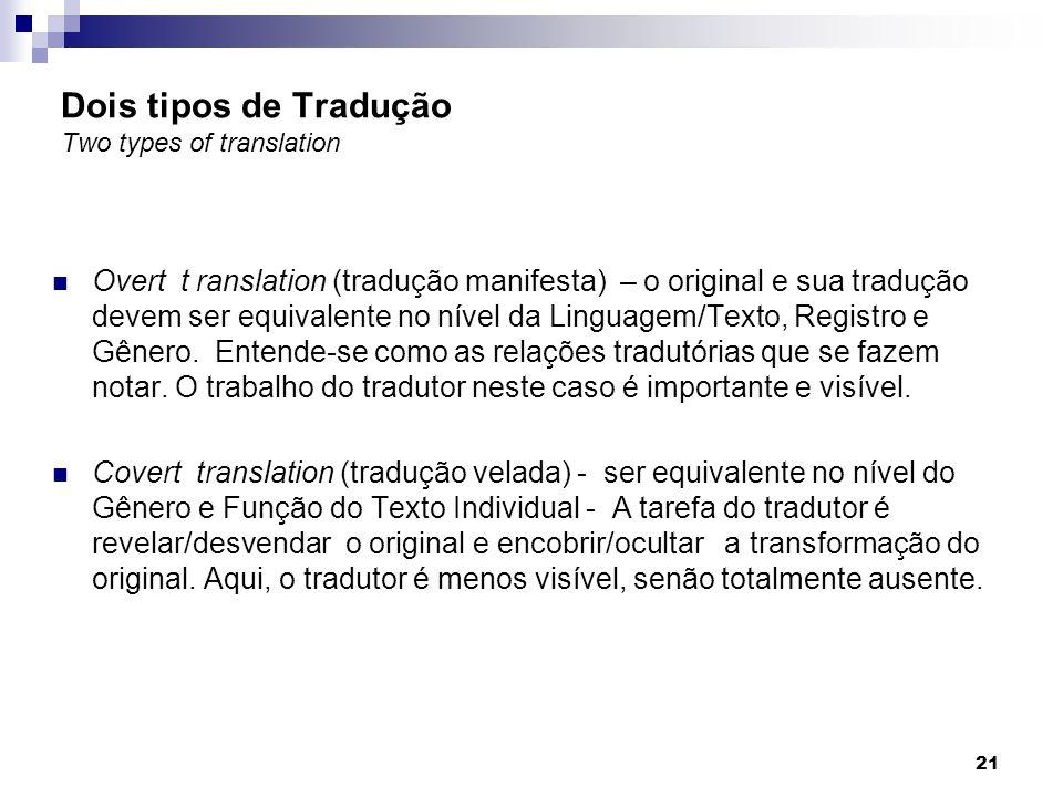 Dois tipos de Tradução Two types of translation Overt t ranslation (tradução manifesta) – o original e sua tradução devem ser equivalente no nível da