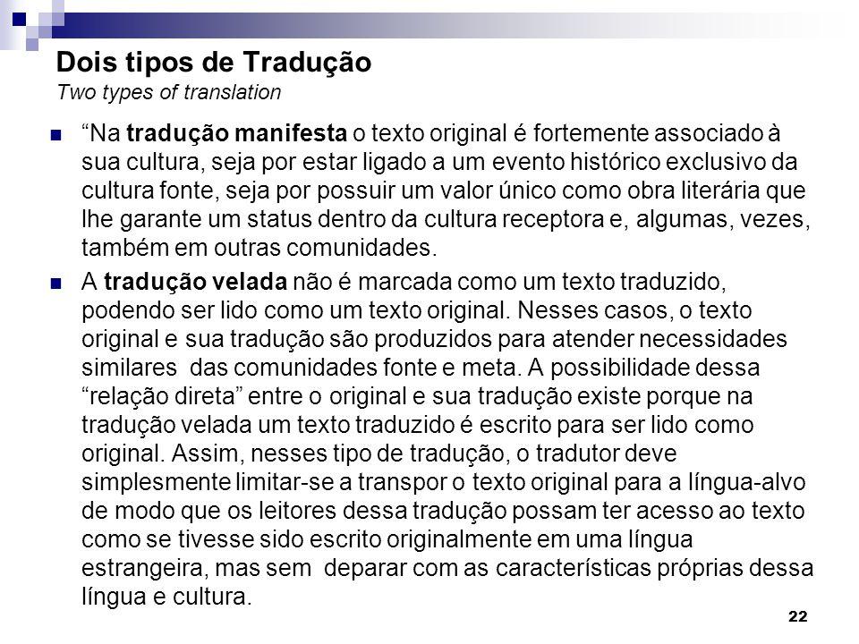 Dois tipos de Tradução Two types of translation Na tradução manifesta o texto original é fortemente associado à sua cultura, seja por estar ligado a u
