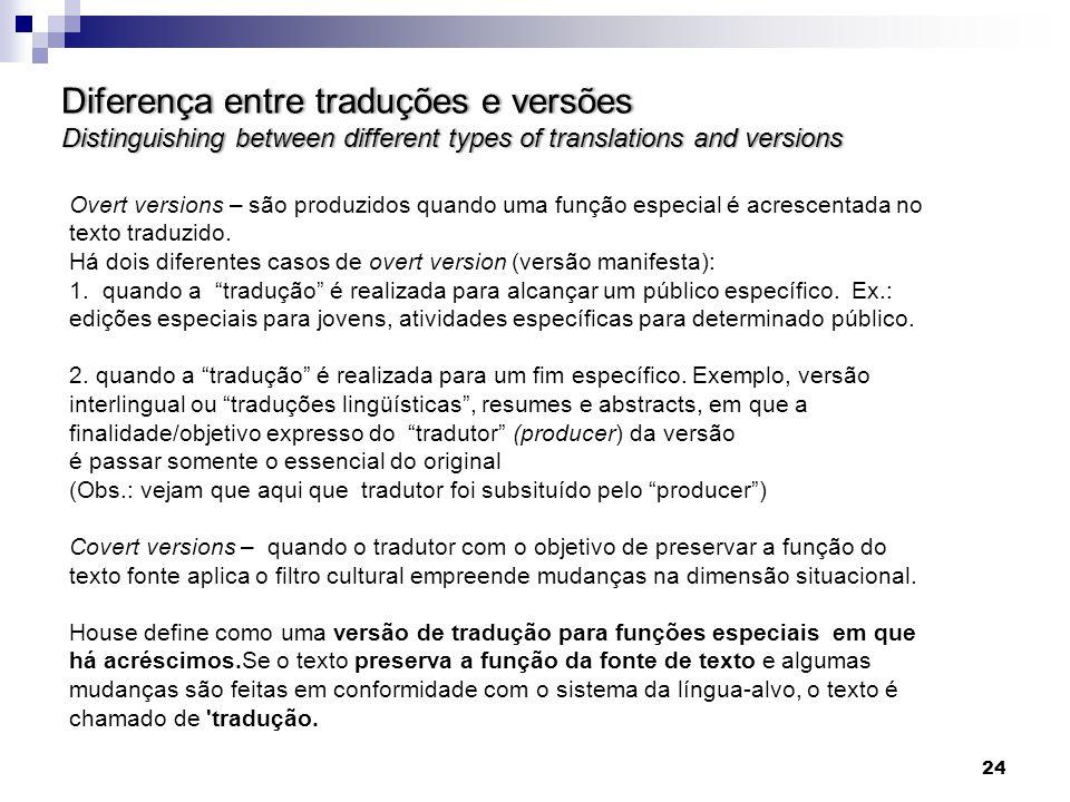 Diferença entre traduções e versões Distinguishing between different types of translations and versions Overt versions – são produzidos quando uma fun
