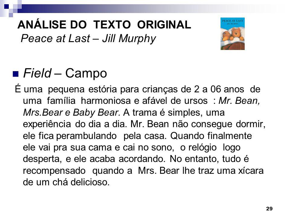 ANÁLISE DO TEXTO ORIGINAL Peace at Last – Jill Murphy Field – Campo É uma pequena estória para crianças de 2 a 06 anos de uma família harmoniosa e afá