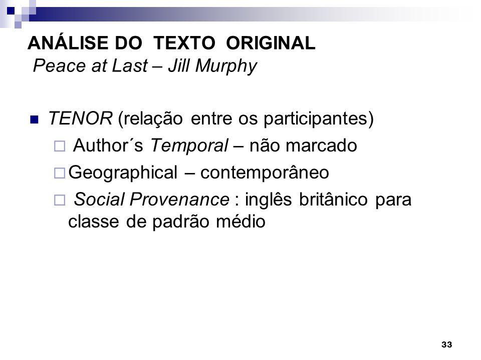 TENOR (relação entre os participantes) Author´s Temporal – não marcado Geographical – contemporâneo Social Provenance : inglês britânico para classe d