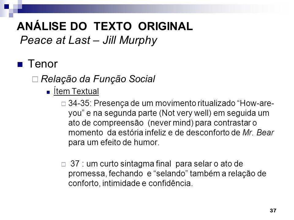 Tenor Relação da Função Social Ítem Textual 34-35: Presença de um movimento ritualizado How-are- you e na segunda parte (Not very well) em seguida um