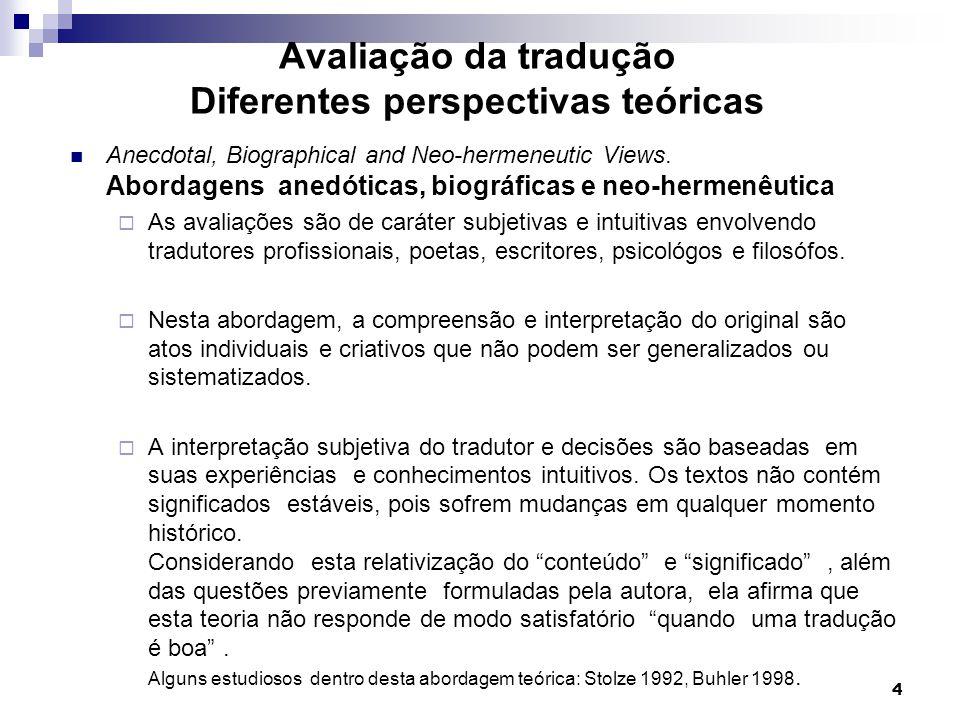 Avaliação da tradução Diferentes perspectivas teóricas Anecdotal, Biographical and Neo-hermeneutic Views. Abordagens anedóticas, biográficas e neo-her