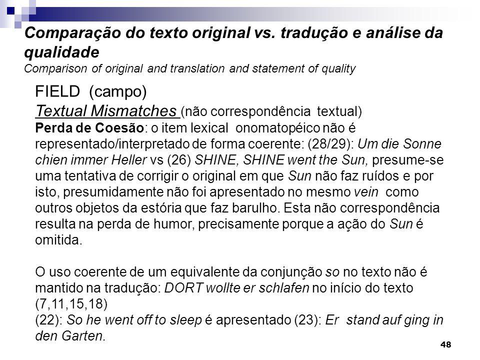 FIELD (campo) Textual Mismatches (não correspondência textual) Perda de Coesão: o item lexical onomatopéico não é representado/interpretado de forma c