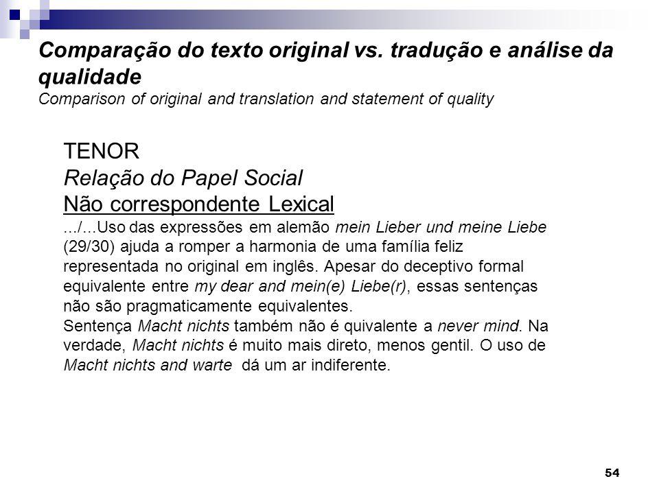 TENOR Relação do Papel Social Não correspondente Lexical.../...Uso das expressões em alemão mein Lieber und meine Liebe (29/30) ajuda a romper a harmo