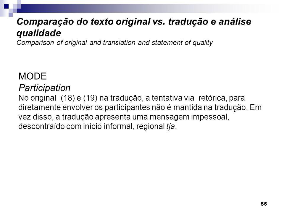 MODE Participation No original (18) e (19) na tradução, a tentativa via retórica, para diretamente envolver os participantes não é mantida na tradução