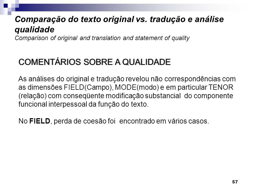 COMENTÁRIOS SOBRE A QUALIDADECOMENTÁRIOS SOBRE A QUALIDADE As análises do original e tradução revelou não correspondências com as dimensões FIELD(Camp