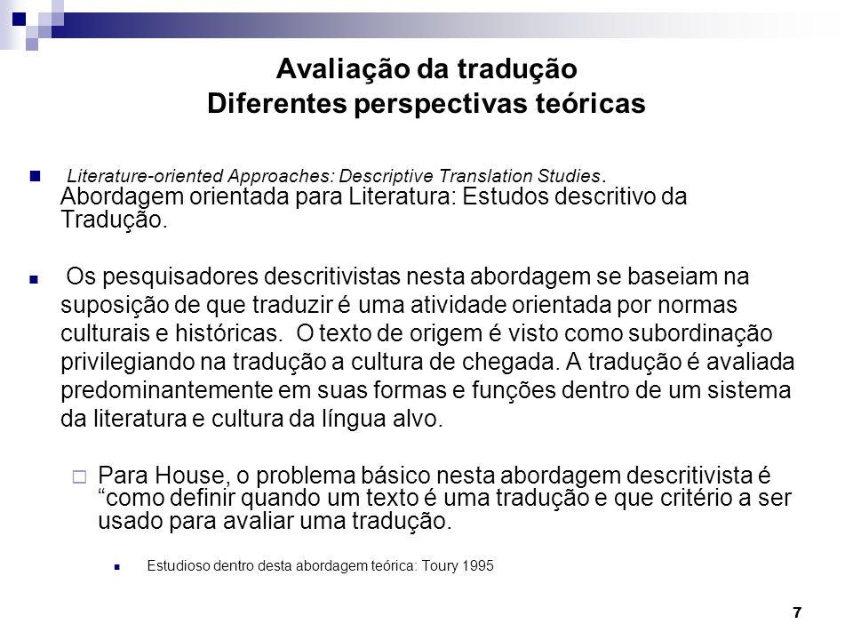 Literature-oriented Approaches: Descriptive Translation Studies. Abordagem orientada para Literatura: Estudos descritivo da Tradução. Os pesquisadores