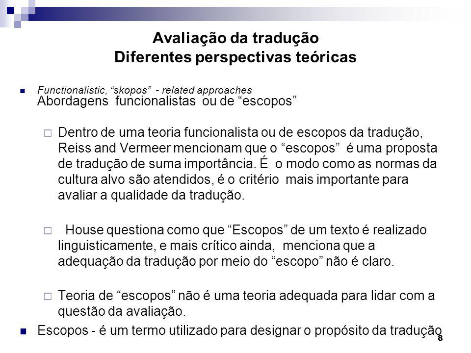 Functionalistic, skopos - related approaches Abordagens funcionalistas ou de escopos Dentro de uma teoria funcionalista ou de escopos da tradução, Rei