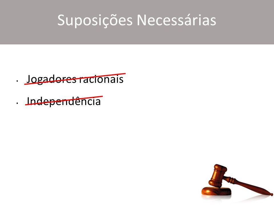 Suposições Necessárias Jogadores racionais Independência