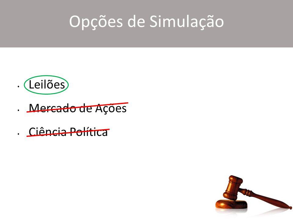 Opções de Simulação Leilões Mercado de Ações Ciência Política
