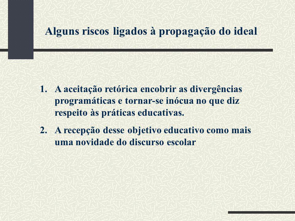 Alguns riscos ligados à propagação do ideal 1.A aceitação retórica encobrir as divergências programáticas e tornar-se inócua no que diz respeito às pr
