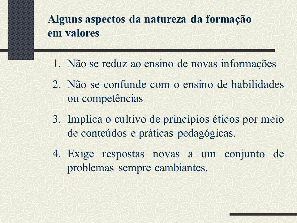 1.Não se reduz ao ensino de novas informações 2.Não se confunde com o ensino de habilidades ou competências 3.Implica o cultivo de princípios éticos p