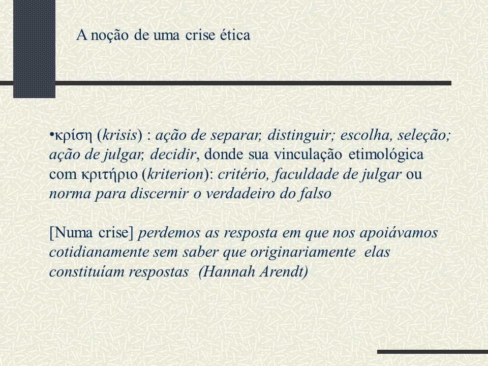κρίση (krisis) : ação de separar, distinguir; escolha, seleção; ação de julgar, decidir, donde sua vinculação etimológica com κριτήριο (kriterion): cr