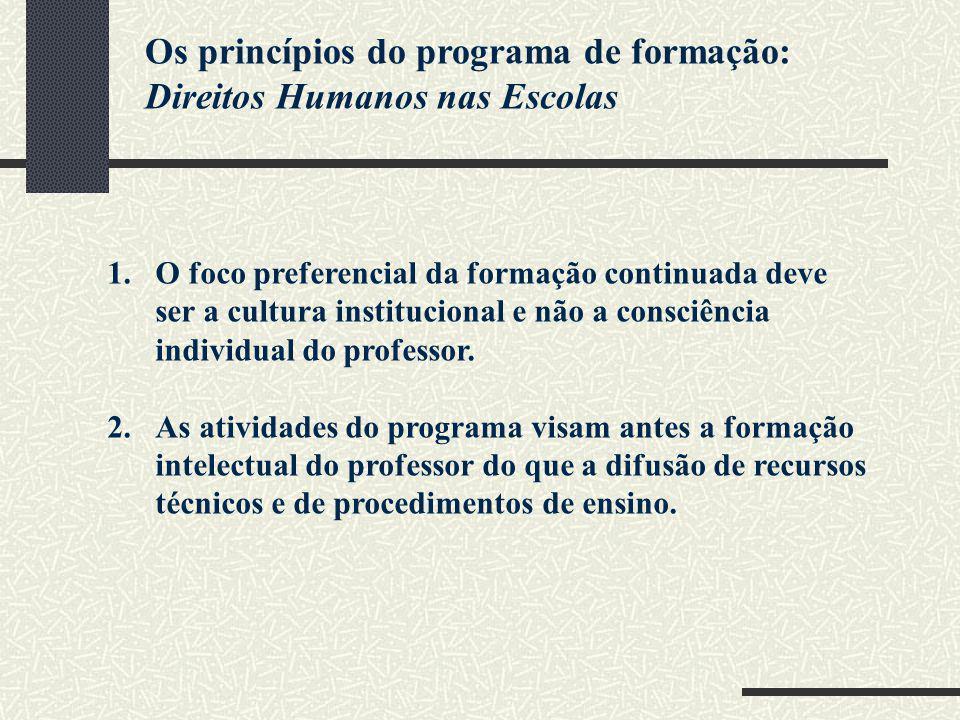Os princípios do programa de formação: Direitos Humanos nas Escolas 1.O foco preferencial da formação continuada deve ser a cultura institucional e nã
