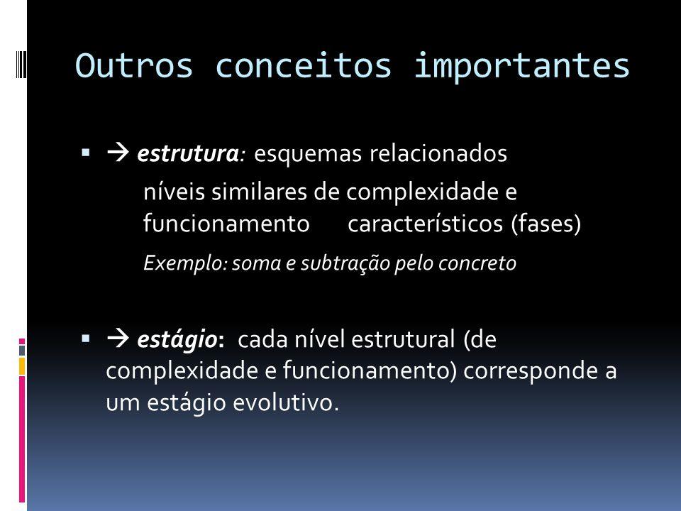 Outros conceitos importantes estrutura: esquemas relacionados níveis similares de complexidade e funcionamento característicos (fases) Exemplo: soma e subtração pelo concreto estágio: cada nível estrutural (de complexidade e funcionamento) corresponde a um estágio evolutivo.