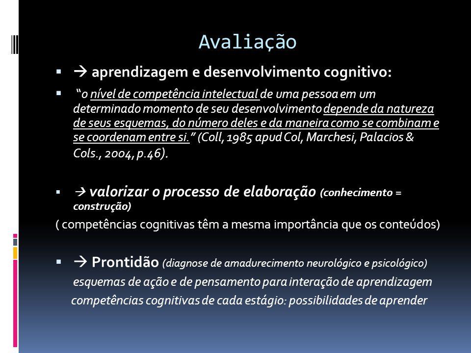 Avaliação aprendizagem e desenvolvimento cognitivo: o nível de competência intelectual de uma pessoa em um determinado momento de seu desenvolvimento depende da natureza de seus esquemas, do número deles e da maneira como se combinam e se coordenam entre si.