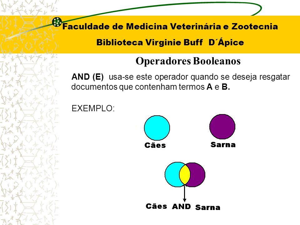 OR (OU) Use quando estiver buscando termos variantes e sinônimos EXEMPLO: Operadores Booleanos Faculdade de Medicina Veterinária e Zootecnia Biblioteca Virginie Buff D´Ápice