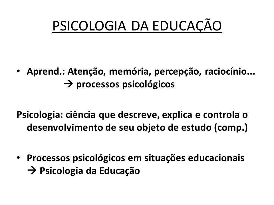 PSICOLOGIA DA EDUCAÇÃO Aprend.: Atenção, memória, percepção, raciocínio... processos psicológicos Psicologia: ciência que descreve, explica e controla