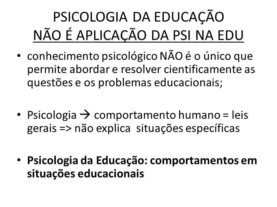 PSICOLOGIA DA EDUCAÇÃO NÃO É APLICAÇÃO DA PSI NA EDU conhecimento psicológico NÃO é o único que permite abordar e resolver cientificamente as questões