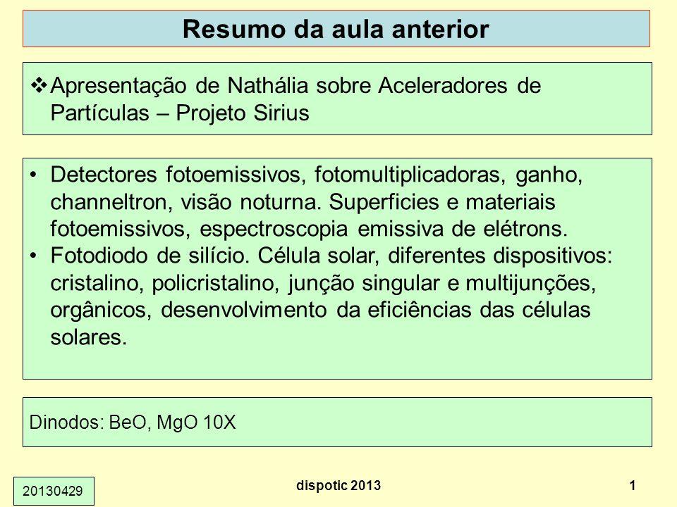 Resumo da aula anterior dispotic 20131 20130429 Apresentação de Nathália sobre Aceleradores de Partículas – Projeto Sirius Detectores fotoemissivos, f
