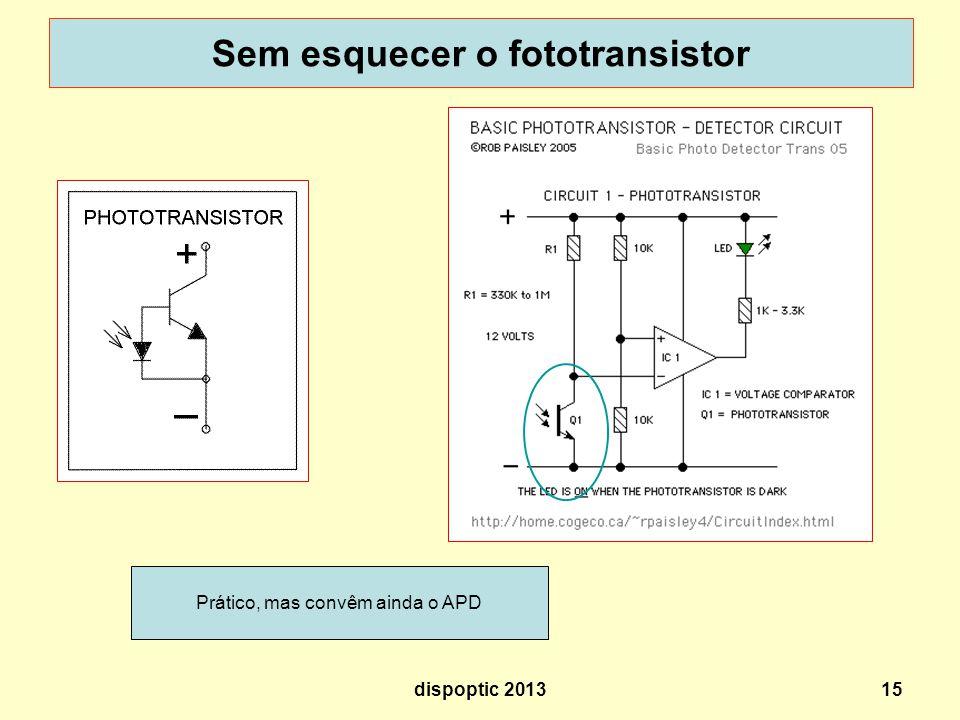15 Sem esquecer o fototransistor Prático, mas convêm ainda o APD dispoptic 2013