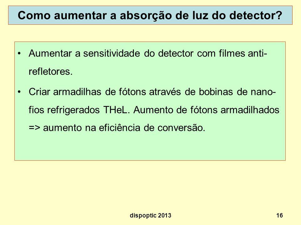 16 Como aumentar a absorção de luz do detector? Aumentar a sensitividade do detector com filmes anti- refletores. Criar armadilhas de fótons através d