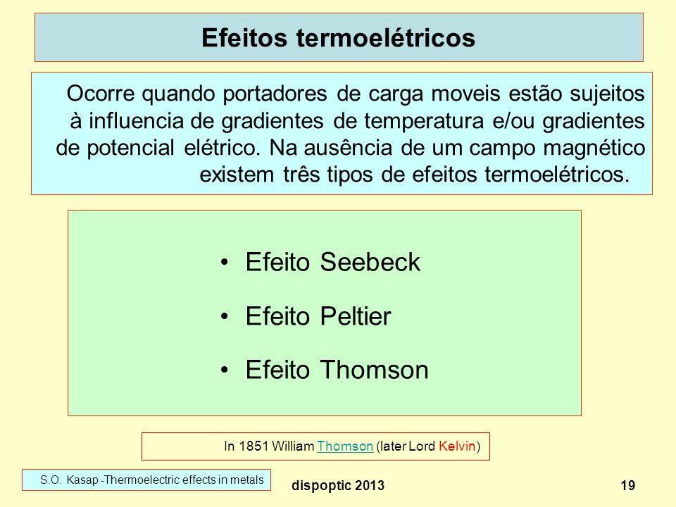 19 Efeitos termoelétricos Efeito Seebeck Efeito Peltier Efeito Thomson Ocorre quando portadores de carga moveis estão sujeitos à influencia de gradien