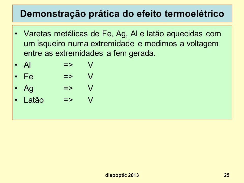 Demonstração prática do efeito termoelétrico Varetas metálicas de Fe, Ag, Al e latão aquecidas com um isqueiro numa extremidade e medimos a voltagem e