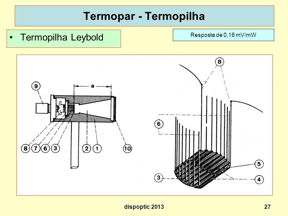 27 Termopar - Termopilha Termopilha Leybold Resposta de 0,16 mV/mW dispoptic 2013