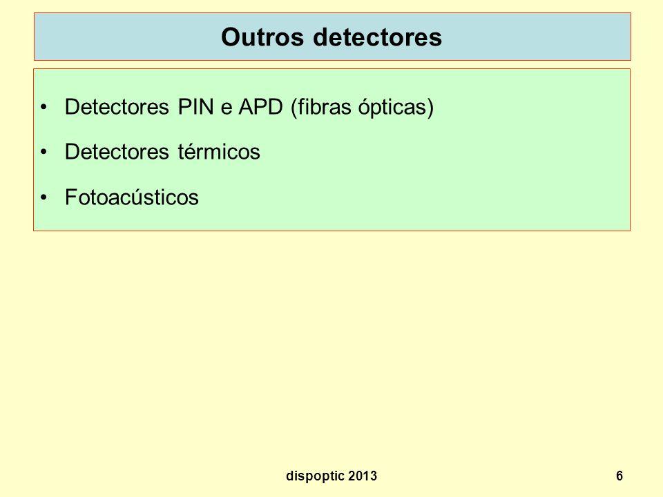 6 Outros detectores Detectores PIN e APD (fibras ópticas) Detectores térmicos Fotoacústicos dispoptic 2013