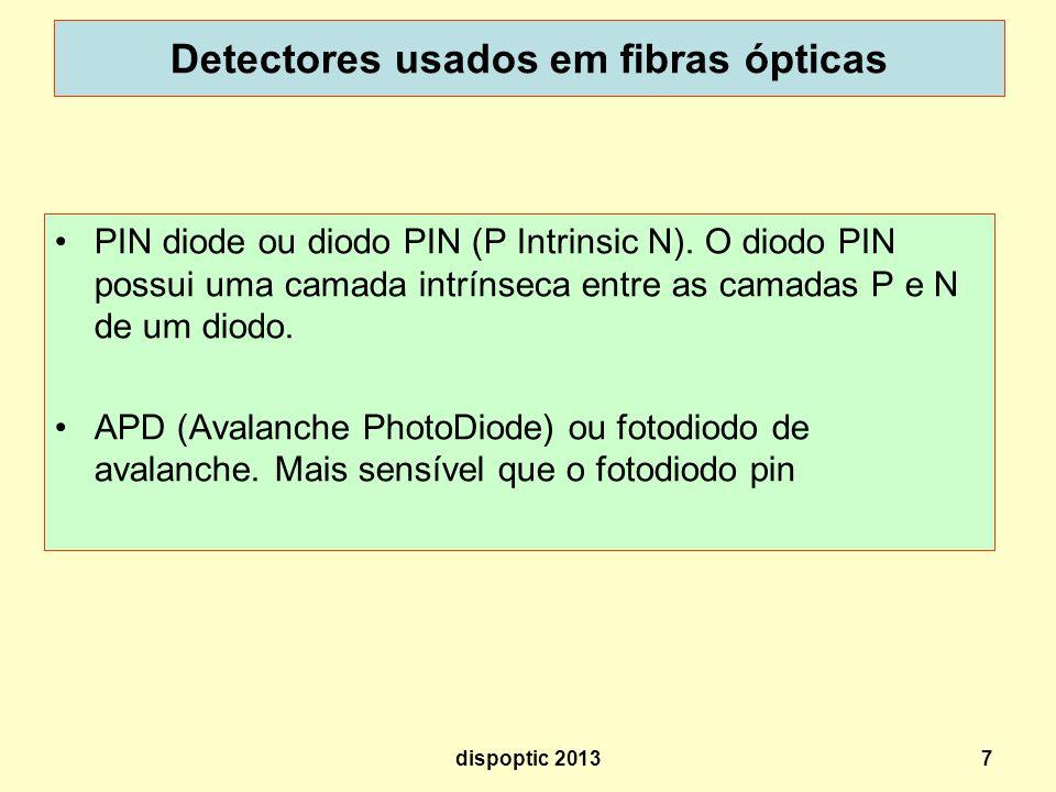 7 Detectores usados em fibras ópticas PIN diode ou diodo PIN (P Intrinsic N). O diodo PIN possui uma camada intrínseca entre as camadas P e N de um di