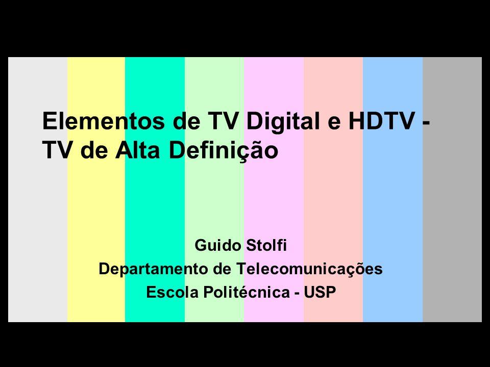 G.S 2008 32 Decisão da HDTV nos EUA Quatro propostas digitais são testadas; FCC não se decide por nenhuma Prevendo fracasso comercial, os 4 proponentes apresentam uma proposta única, a Grande Aliança FCC homologa proposta (sistema ATSC), que inclui compressão e transporte MPEG, áudio AC-3 e transmissão 8-VSB, e estabelece prazo (2006) para fim das transmissões analógicas.