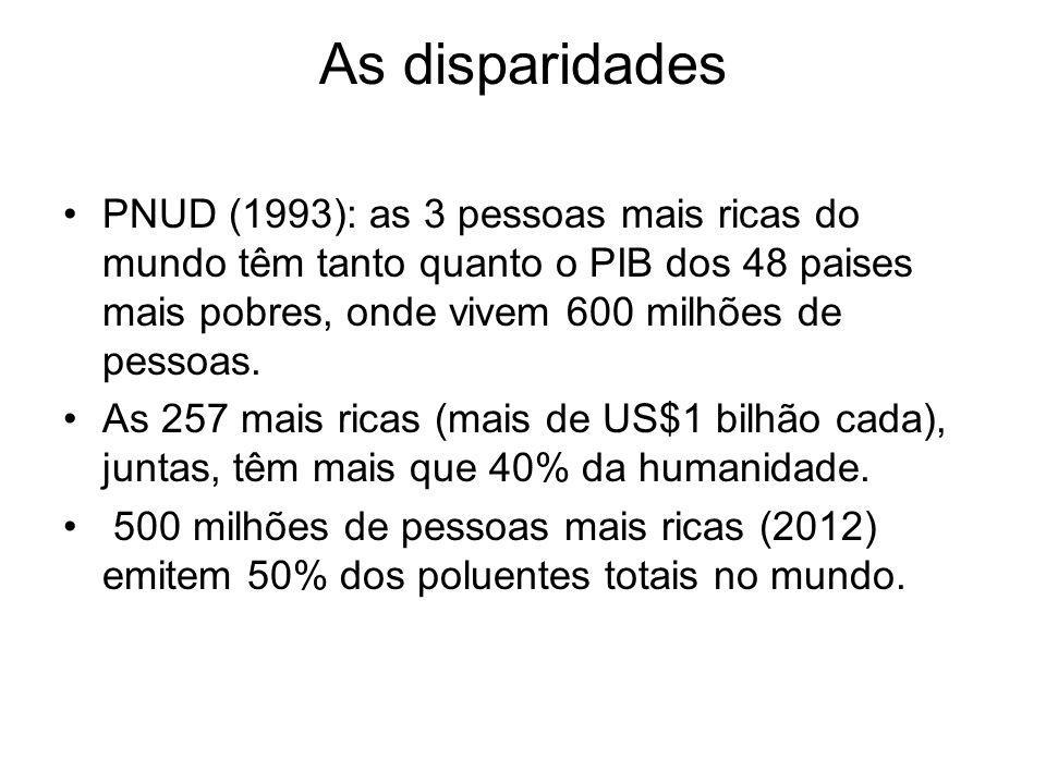 As disparidades PNUD (1993): as 3 pessoas mais ricas do mundo têm tanto quanto o PIB dos 48 paises mais pobres, onde vivem 600 milhões de pessoas. As