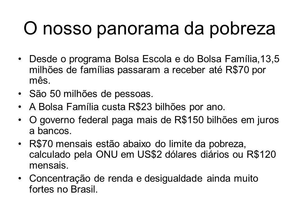 O nosso panorama da pobreza Desde o programa Bolsa Escola e do Bolsa Família,13,5 milhões de famílias passaram a receber até R$70 por mês. São 50 milh