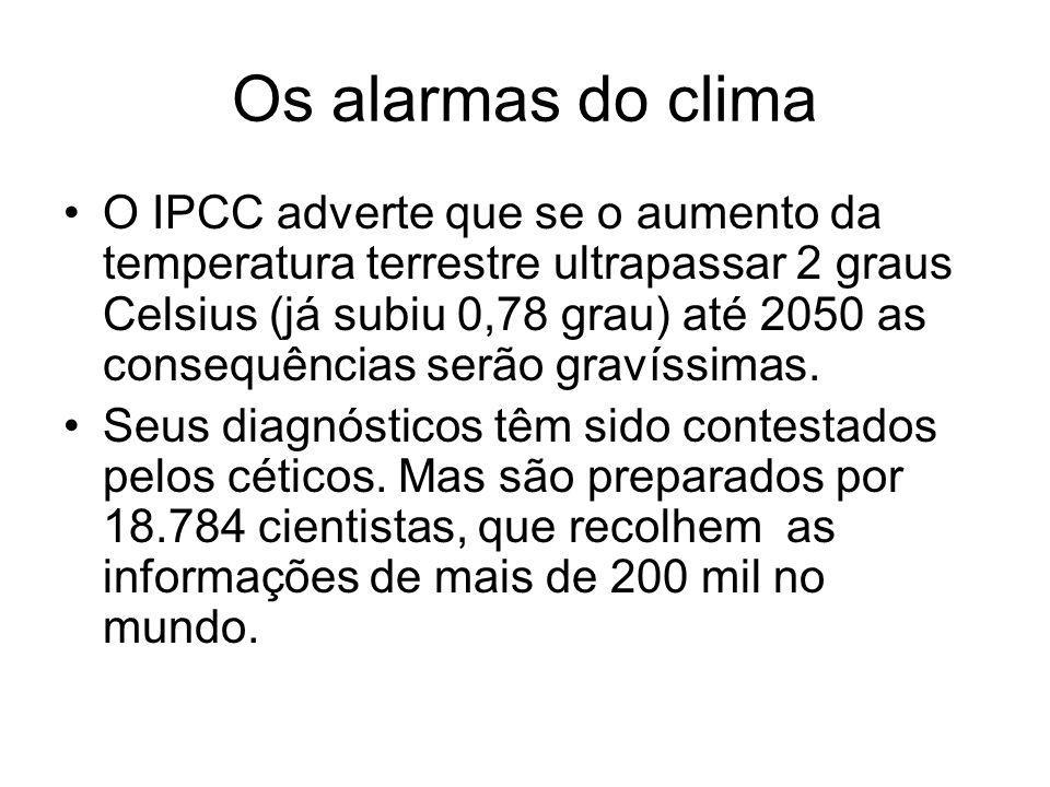 Os alarmas do clima O IPCC adverte que se o aumento da temperatura terrestre ultrapassar 2 graus Celsius (já subiu 0,78 grau) até 2050 as consequência