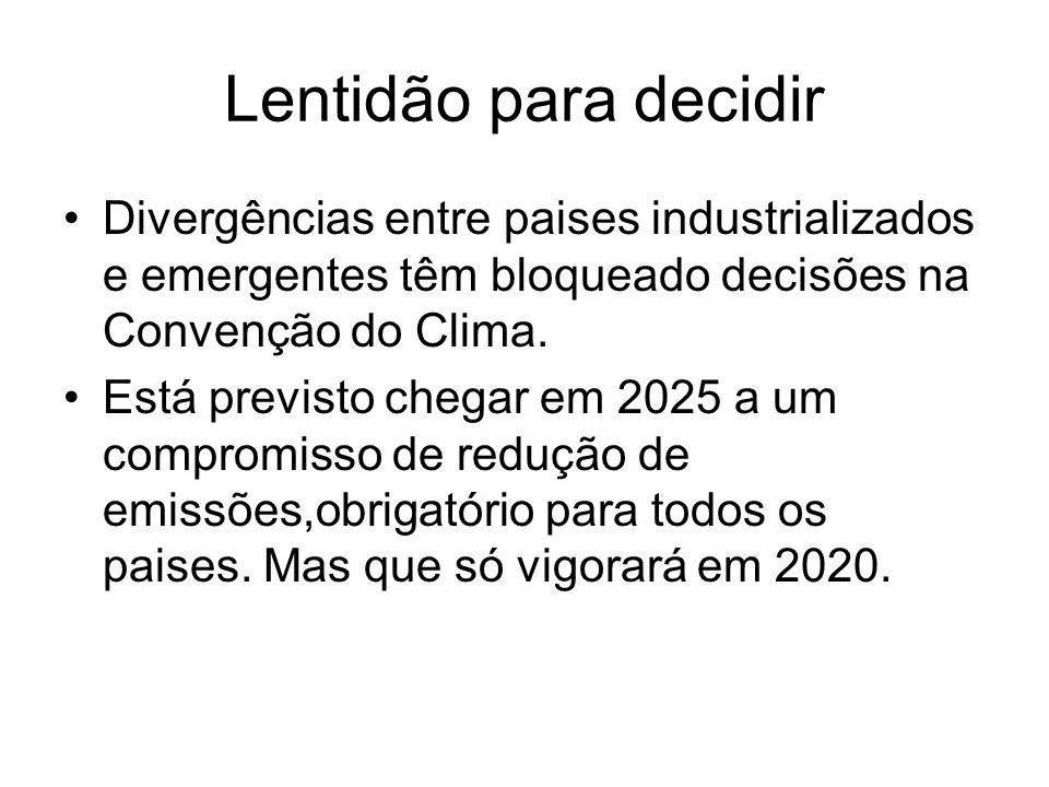Lentidão para decidir Divergências entre paises industrializados e emergentes têm bloqueado decisões na Convenção do Clima. Está previsto chegar em 20