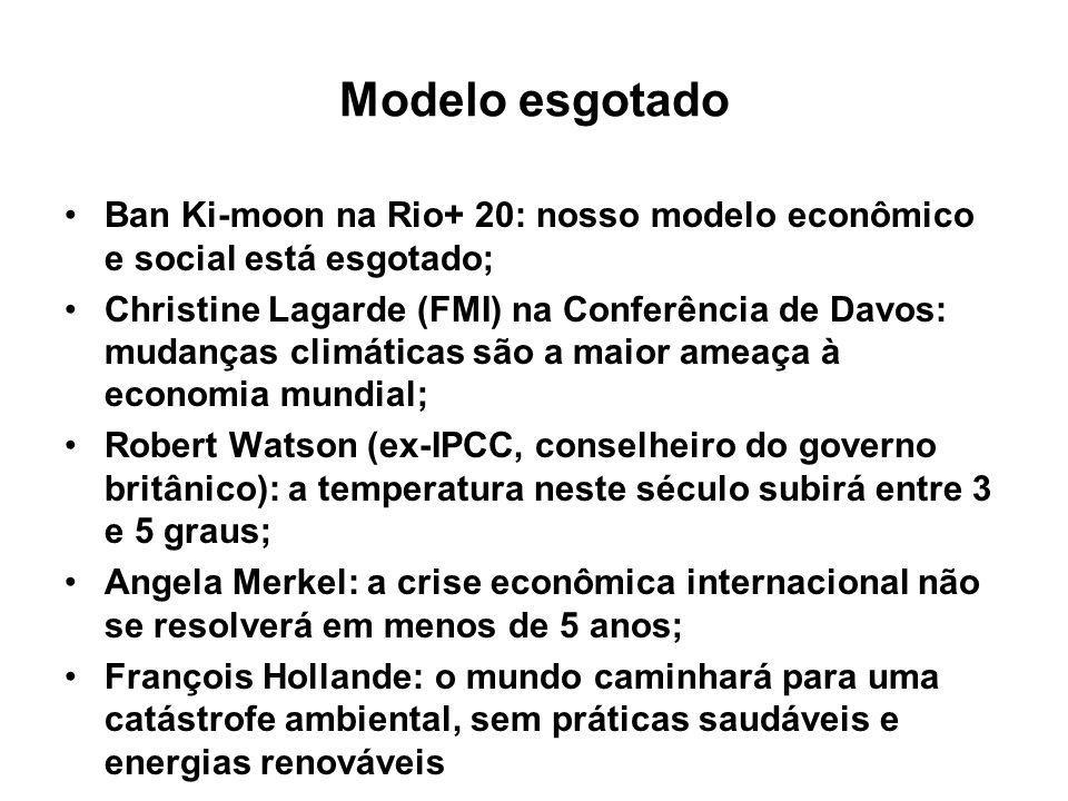 Modelo esgotado Ban Ki-moon na Rio+ 20: nosso modelo econômico e social está esgotado; Christine Lagarde (FMI) na Conferência de Davos: mudanças climá