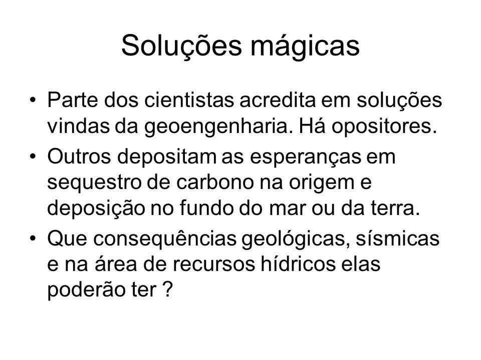 Soluções mágicas Parte dos cientistas acredita em soluções vindas da geoengenharia. Há opositores. Outros depositam as esperanças em sequestro de carb