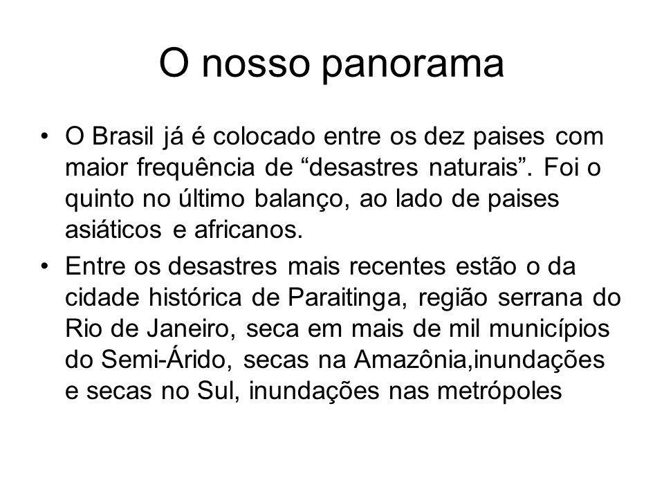 O nosso panorama O Brasil já é colocado entre os dez paises com maior frequência de desastres naturais. Foi o quinto no último balanço, ao lado de pai