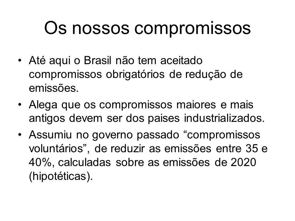 Os nossos compromissos Até aqui o Brasil não tem aceitado compromissos obrigatórios de redução de emissões. Alega que os compromissos maiores e mais a