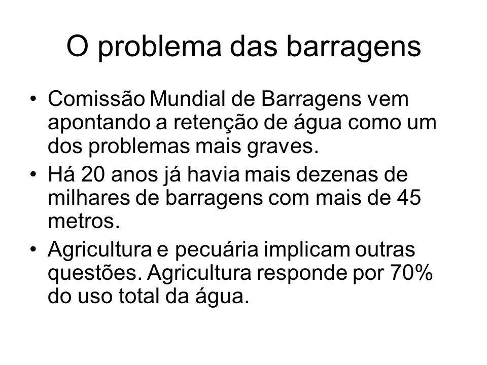 O problema das barragens Comissão Mundial de Barragens vem apontando a retenção de água como um dos problemas mais graves. Há 20 anos já havia mais de