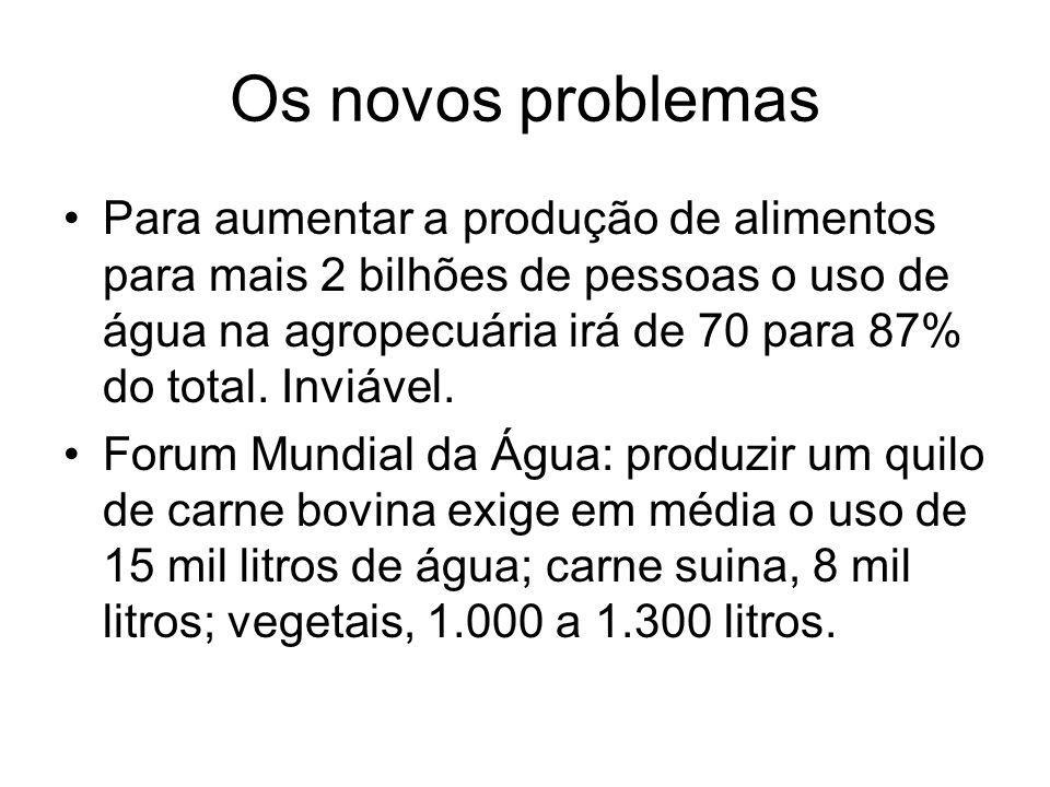 Os novos problemas Para aumentar a produção de alimentos para mais 2 bilhões de pessoas o uso de água na agropecuária irá de 70 para 87% do total. Inv